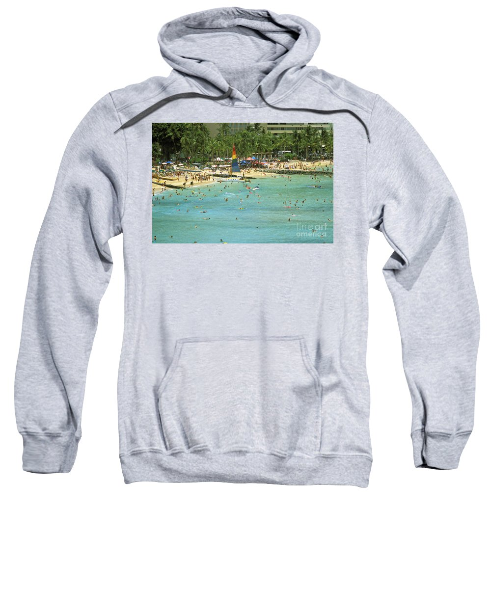Beach Sweatshirt featuring the photograph Waikiki Beach by Peter French - Printscapes