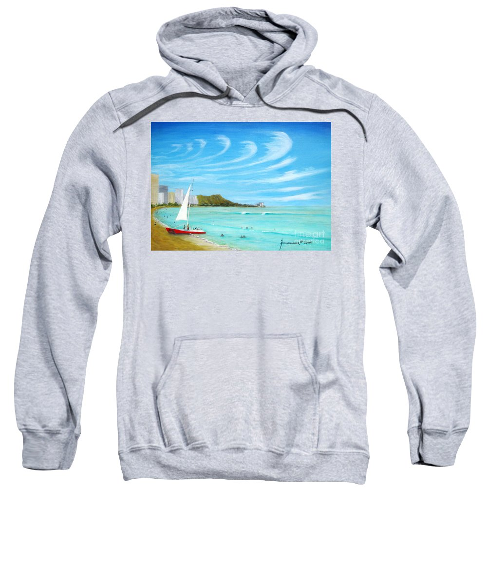 Waikiki Sweatshirt featuring the painting Waikiki by Jerome Stumphauzer