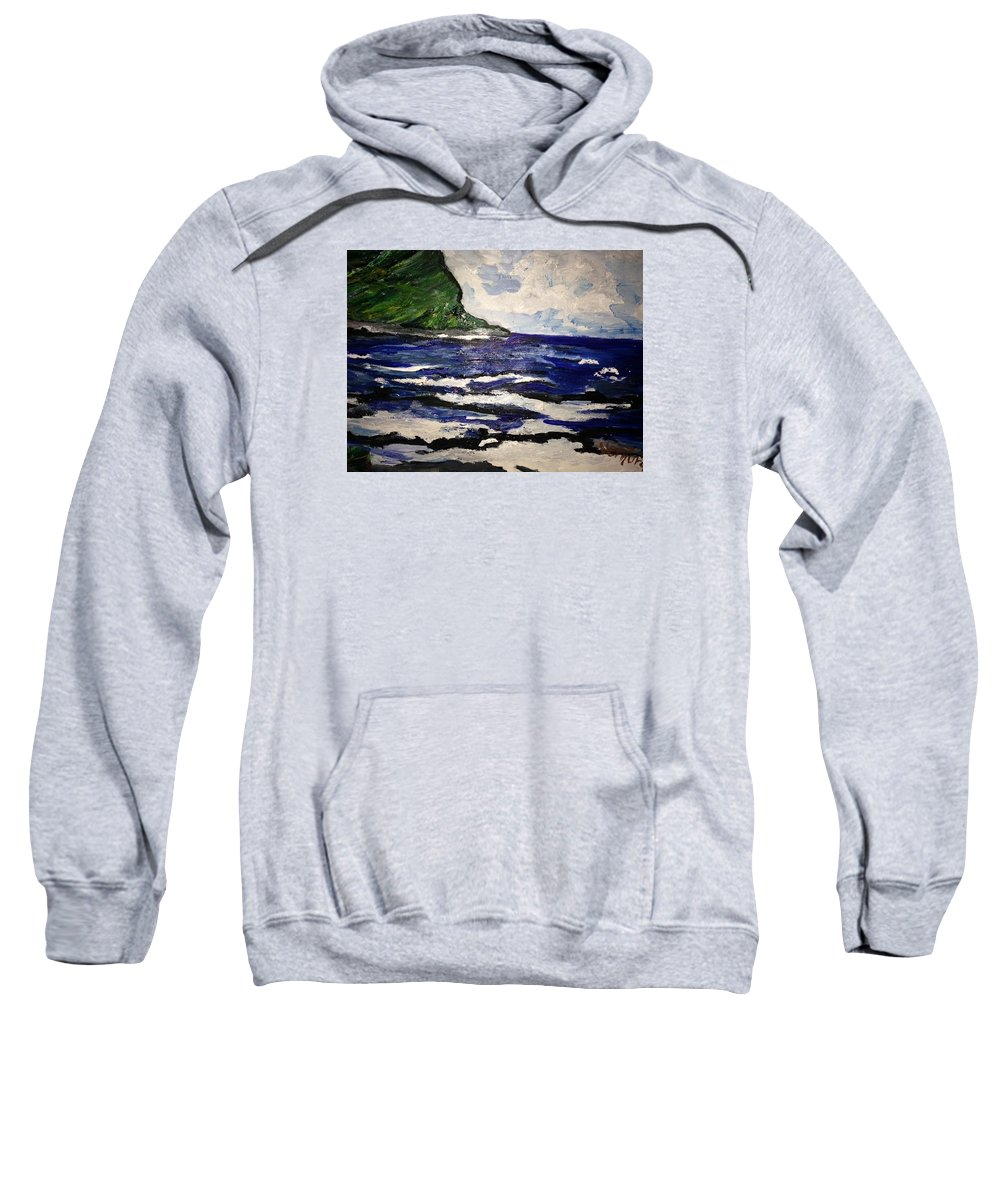 Waipio Valley Sweatshirt featuring the painting Waipio Valley Beach by Clare Ventura