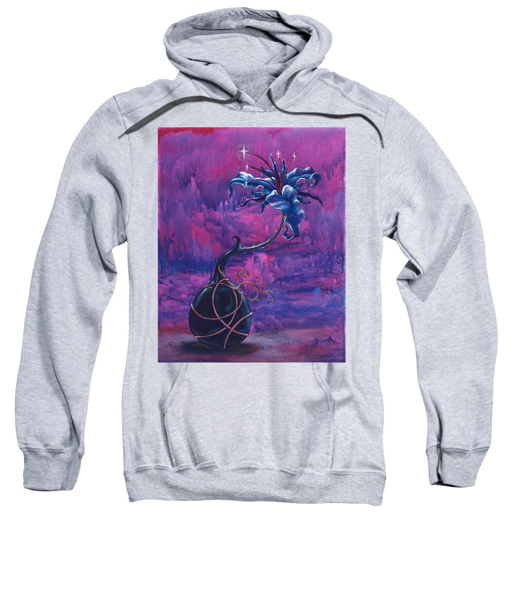 Lily Sweatshirt featuring the painting Waiting Flower by Jennifer McDuffie