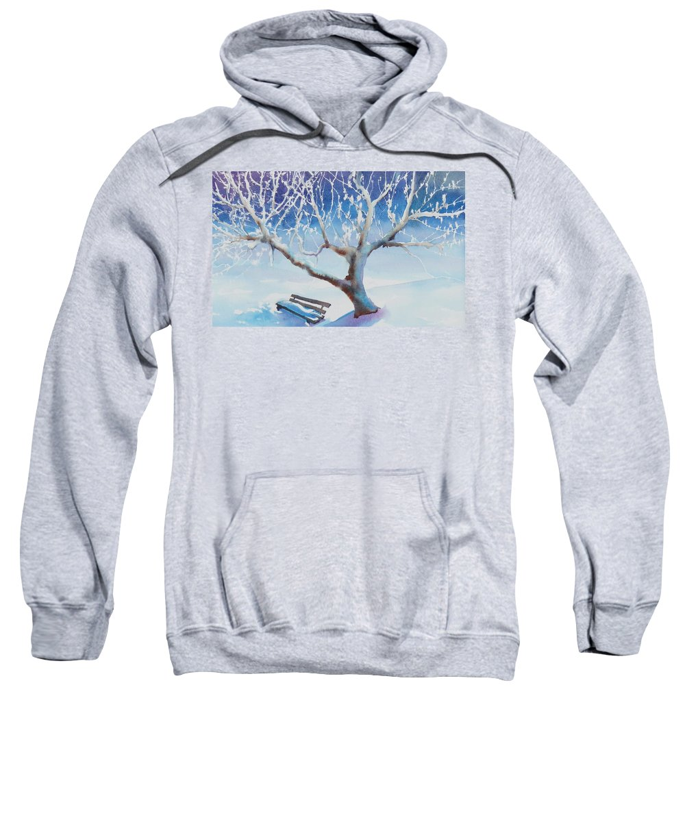Snow Sweatshirt featuring the painting Waiting For Spring by Ruth Kamenev