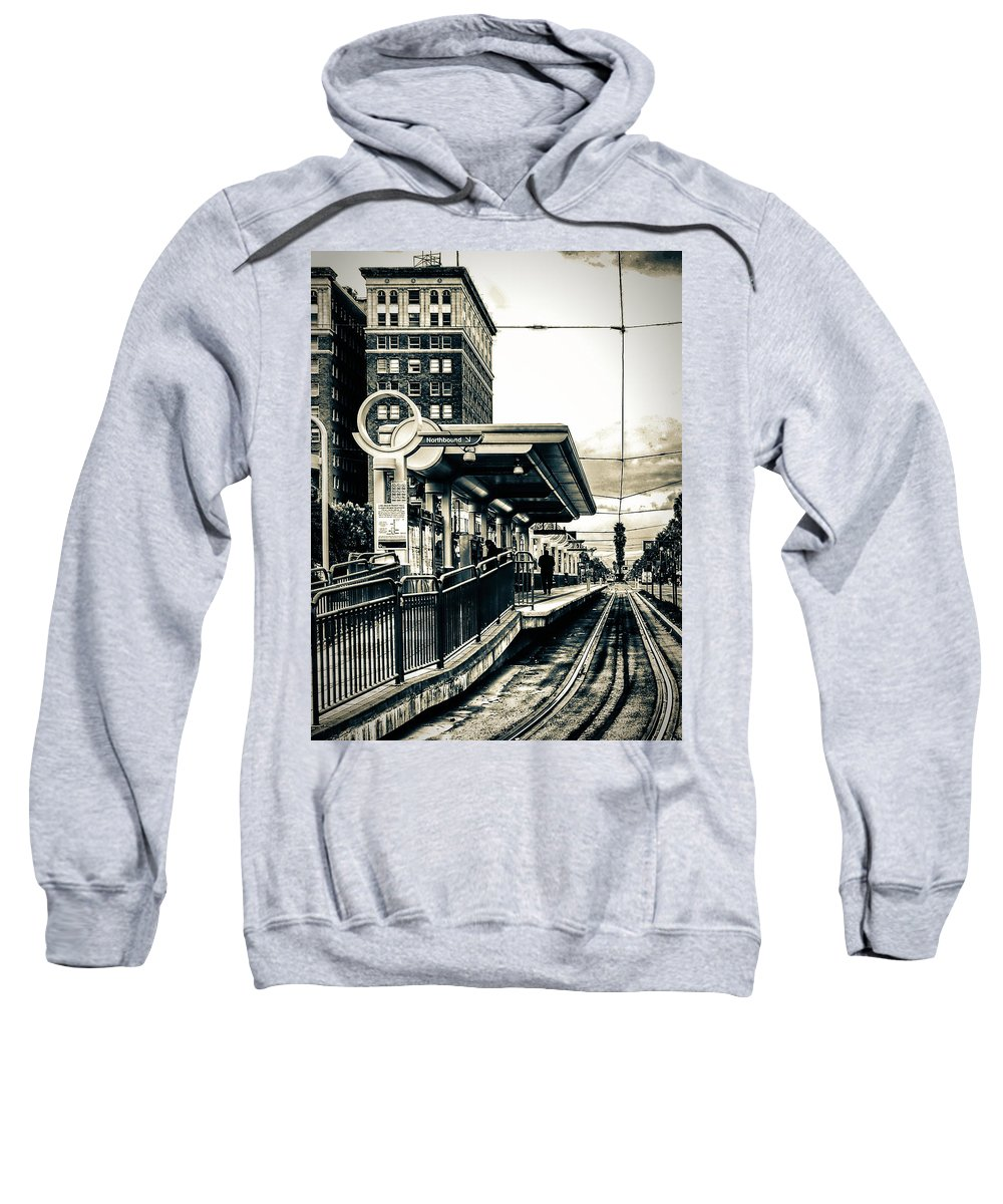 Train Station Sweatshirt featuring the photograph Waiting For The Blue Line by Joseph Hollingsworth