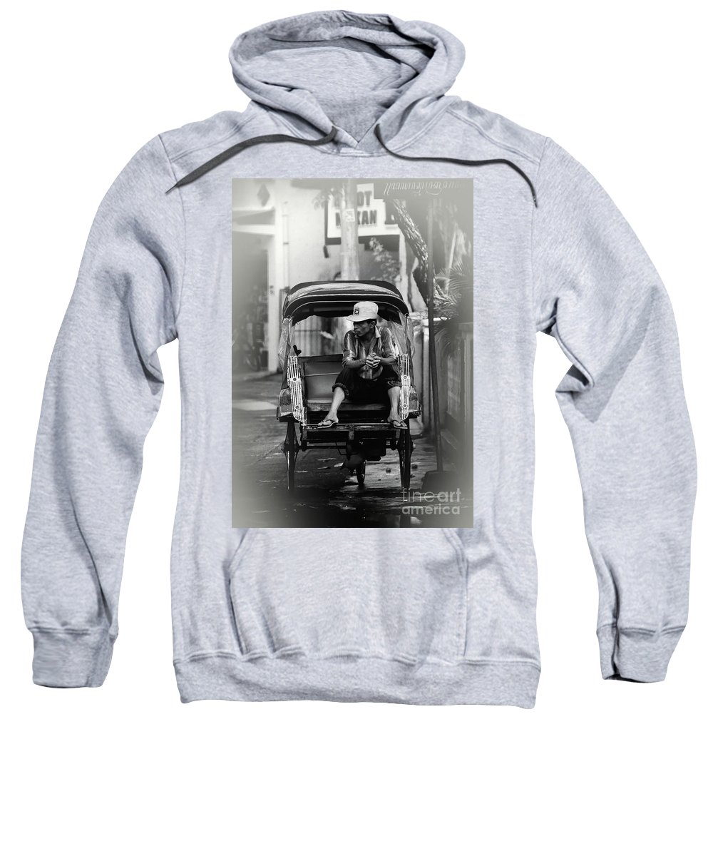 Becak Sweatshirt featuring the photograph Waiting For The Customer by Charuhas Images