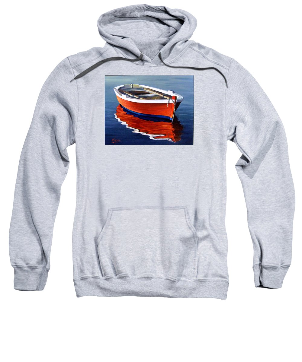 Seascape Water Boat Reflection Ocean Sea Sweatshirt featuring the painting Waiting by Natalia Tejera