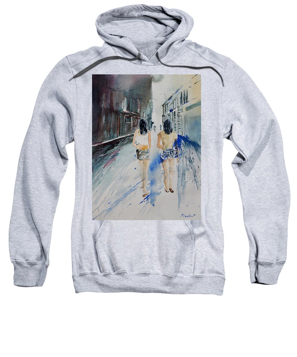 Girl Sweatshirt featuring the painting Walking In The Street by Pol Ledent