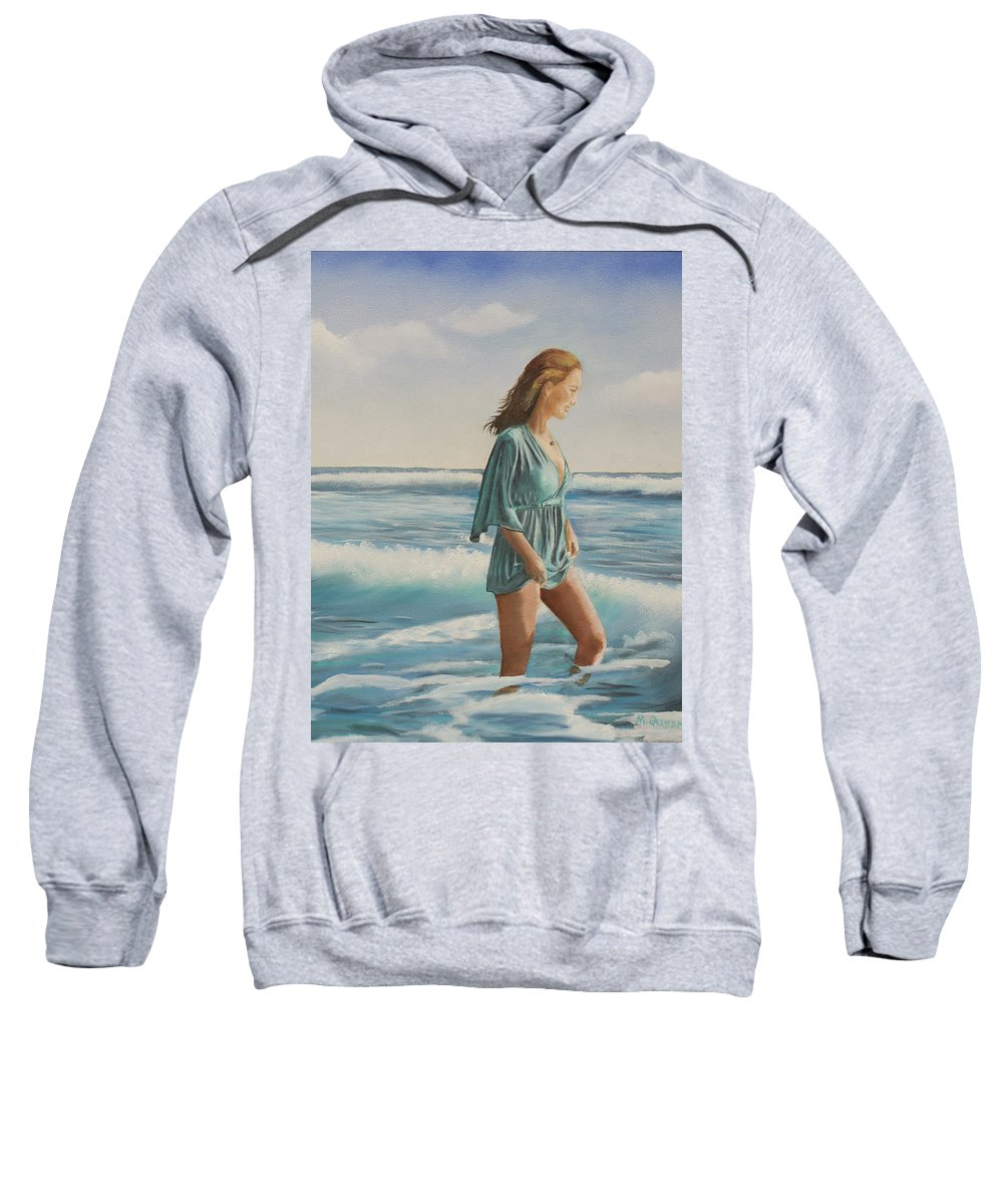 Giada Sweatshirt featuring the painting Walking The Surf by Marcel Quesnel