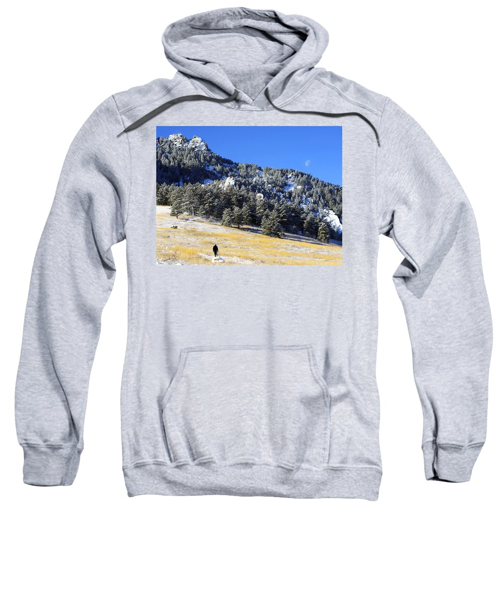 Colorado Sweatshirt featuring the photograph Walking Under The Moon by Marilyn Hunt