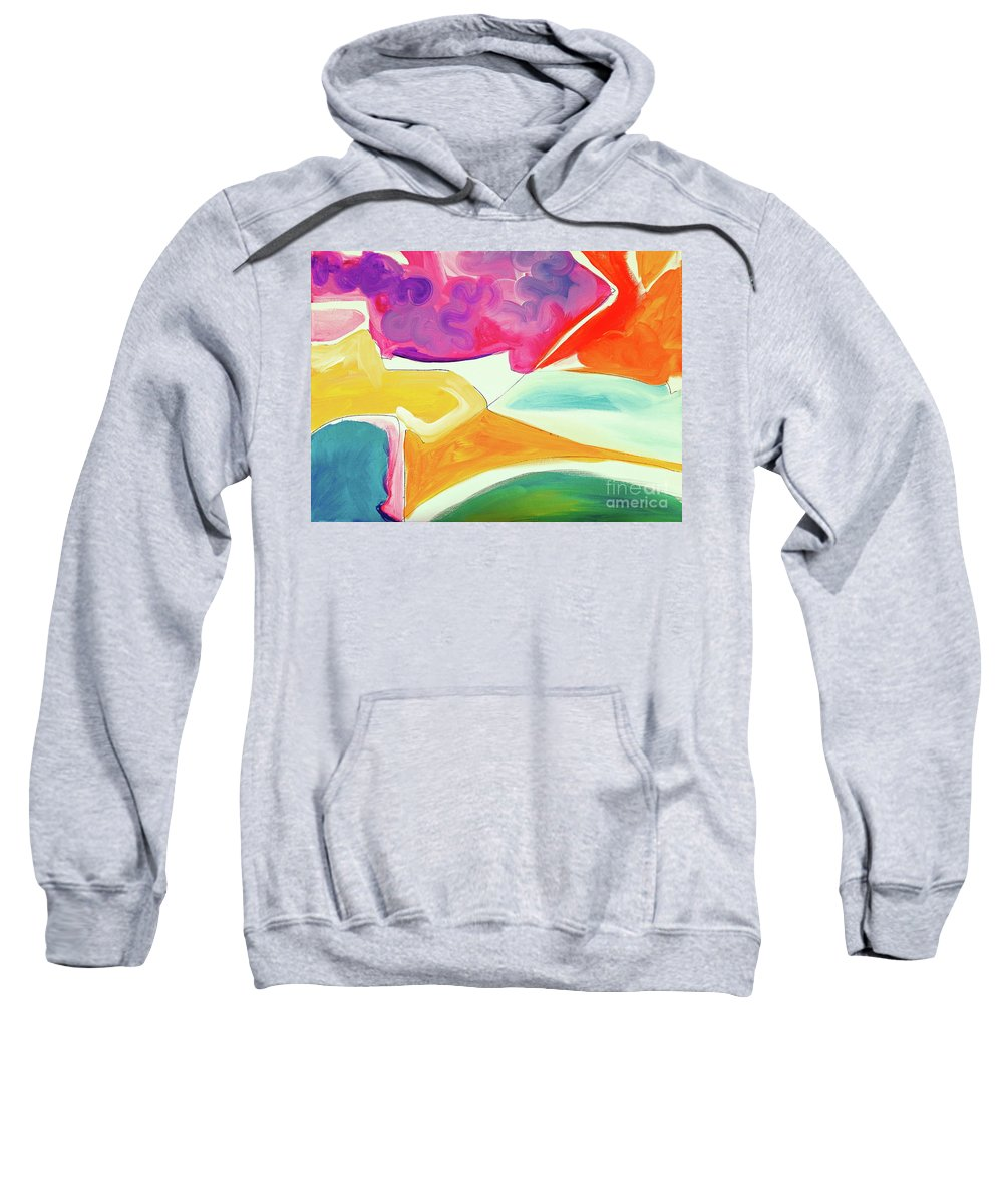 Minimalist Artwork On Canvas Full Of Saturated Color Blocks .thin Black Lines With Some Bright Pastels Becoming Highlights And Accents .deep Turquoise Sweatshirt featuring the painting Wandering I by Expressionistart studio Priscilla Batzell