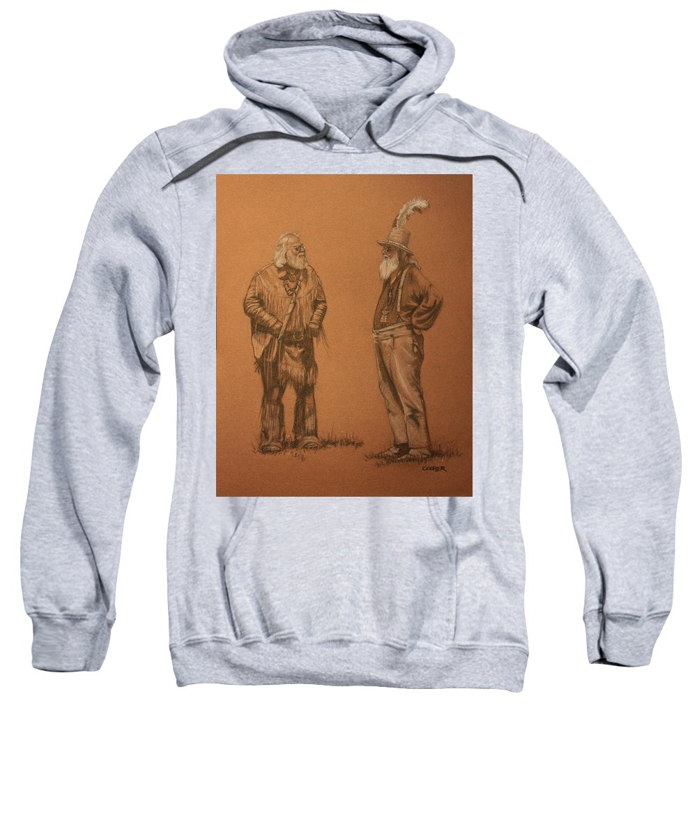 Mountain Men Sweatshirt featuring the drawing Wanna Buy A Hat? by Todd Cooper