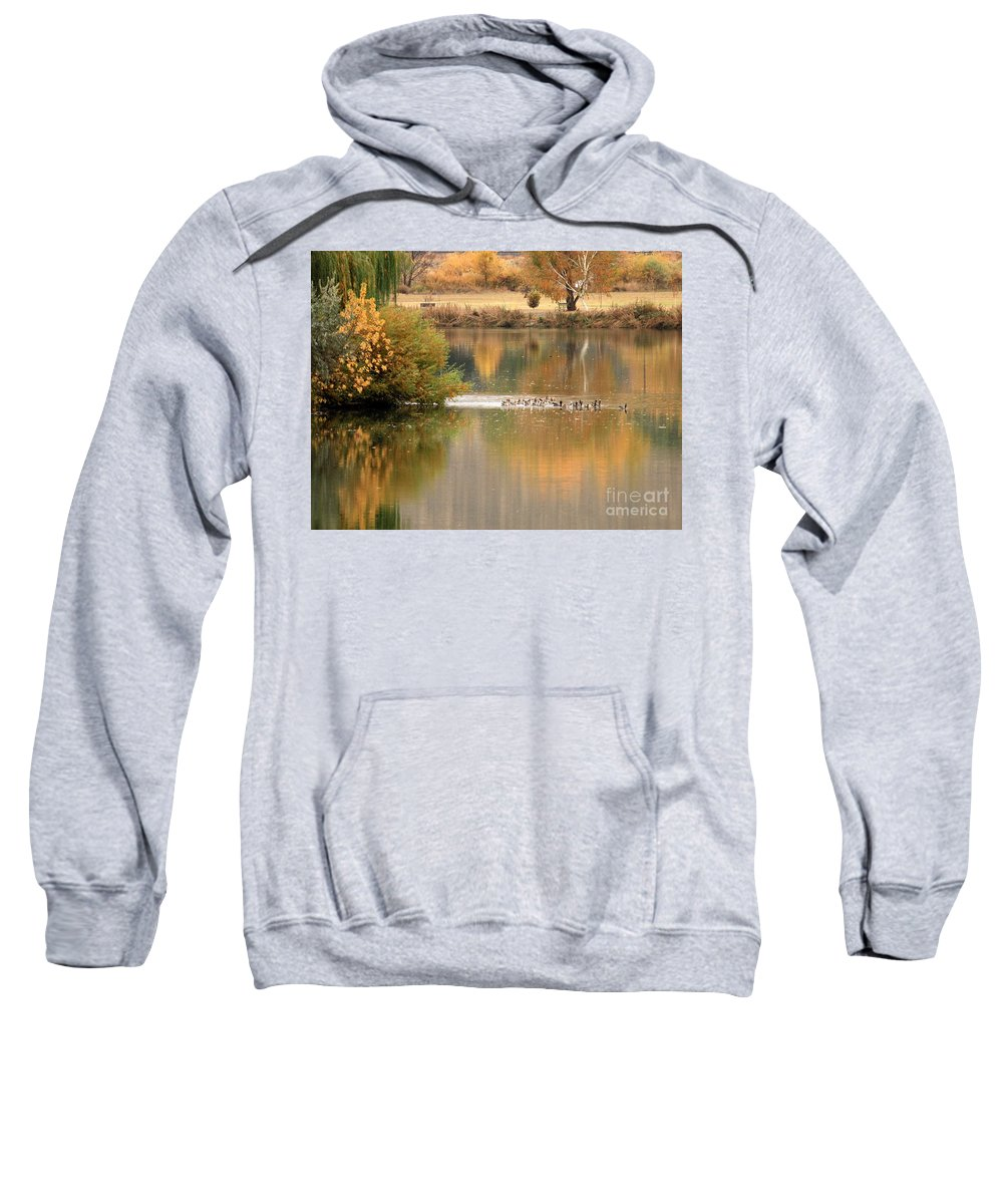 Prosser Sweatshirt featuring the photograph Warm Autumn River by Carol Groenen