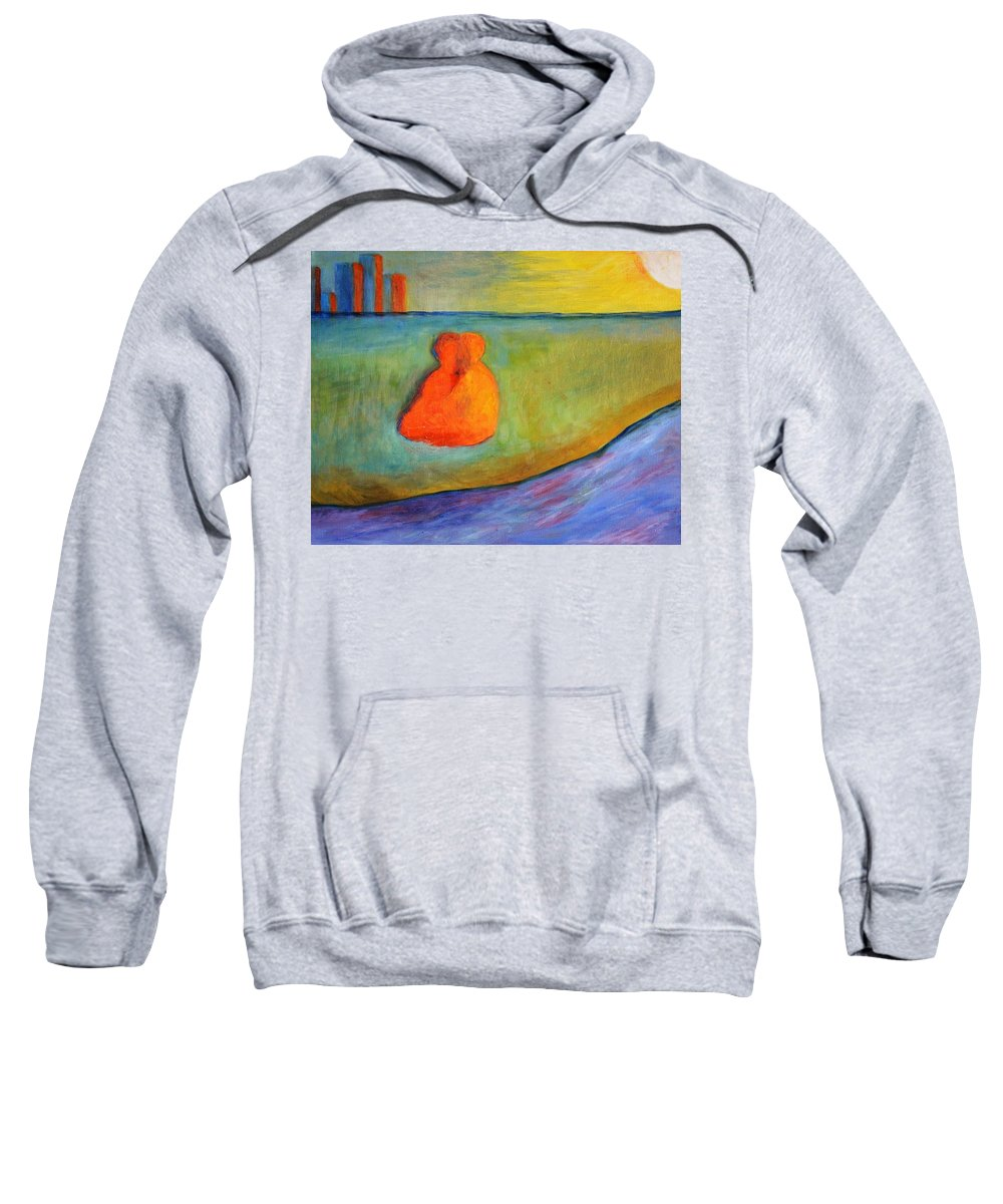 Abstract Sweatshirt featuring the painting Warmed By The Sun by Marla McPherson