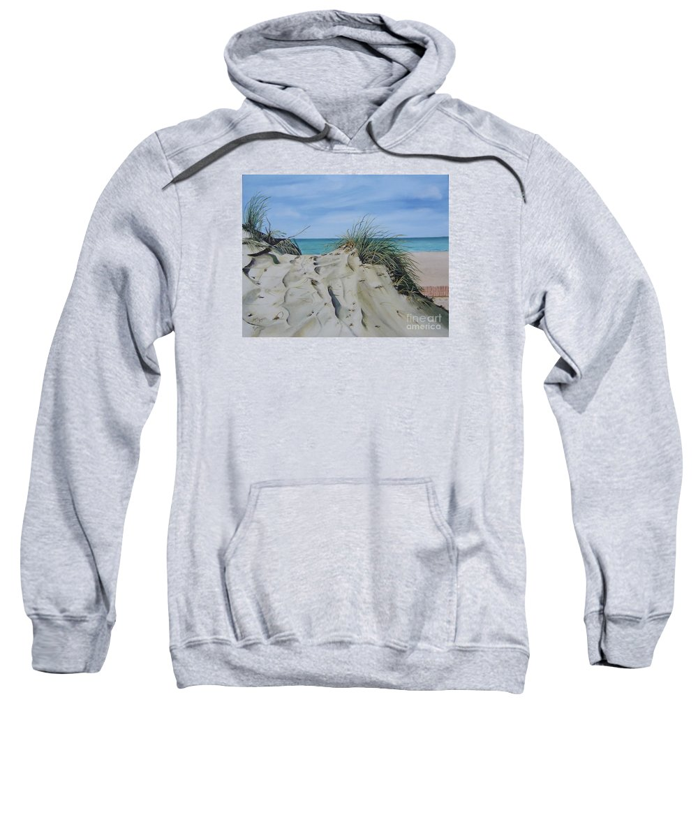 Lake Sweatshirt featuring the painting Warren Dunes by Mary Rogers