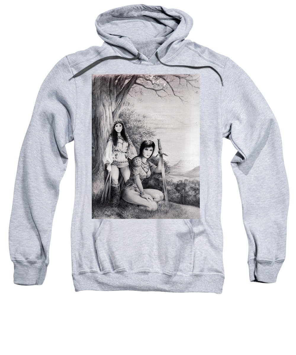 Floral Sweatshirt featuring the drawing Warriors by Rachel Christine Nowicki