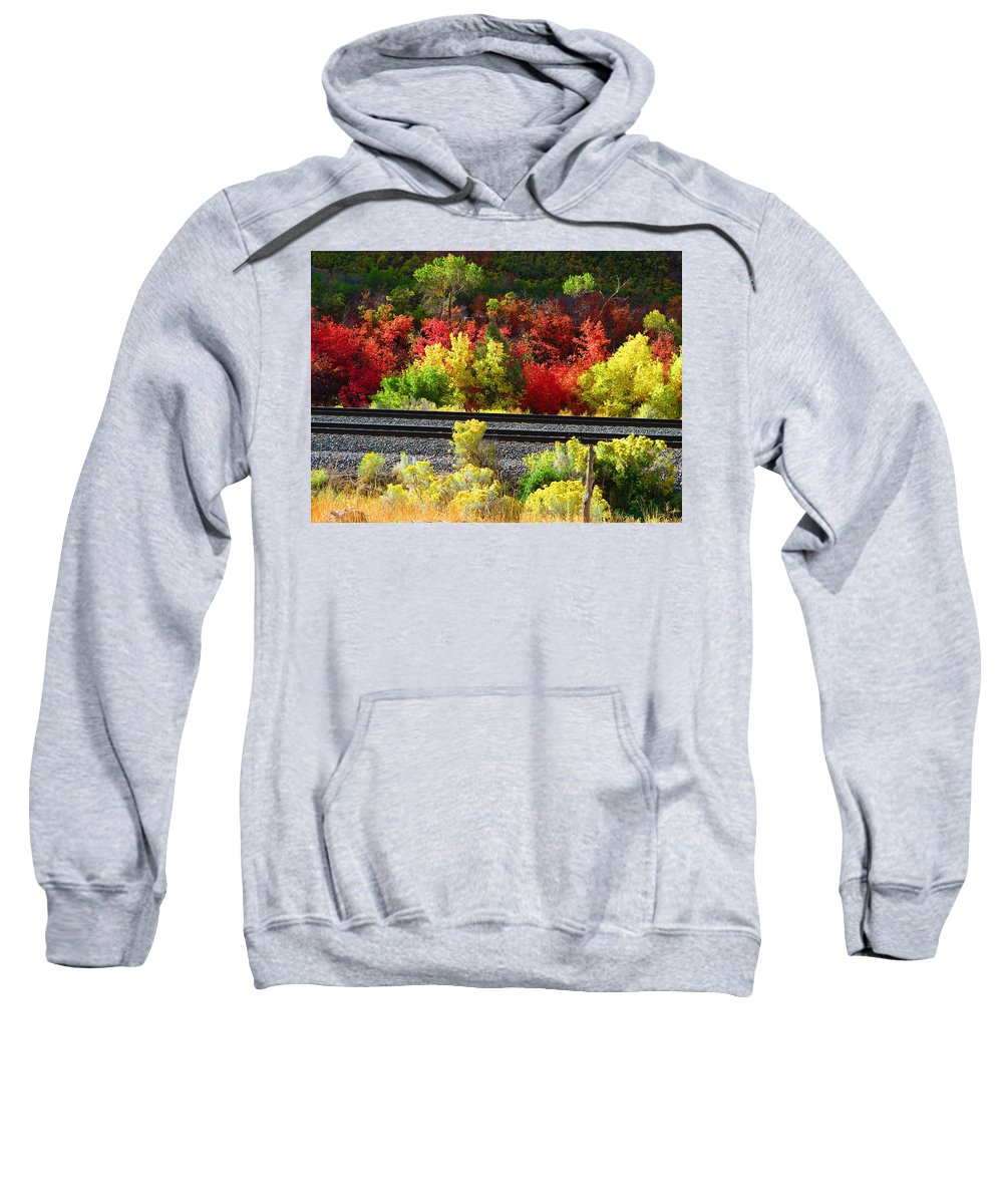 Utah Sweatshirt featuring the photograph Wasatch Fall by Alanna Morris