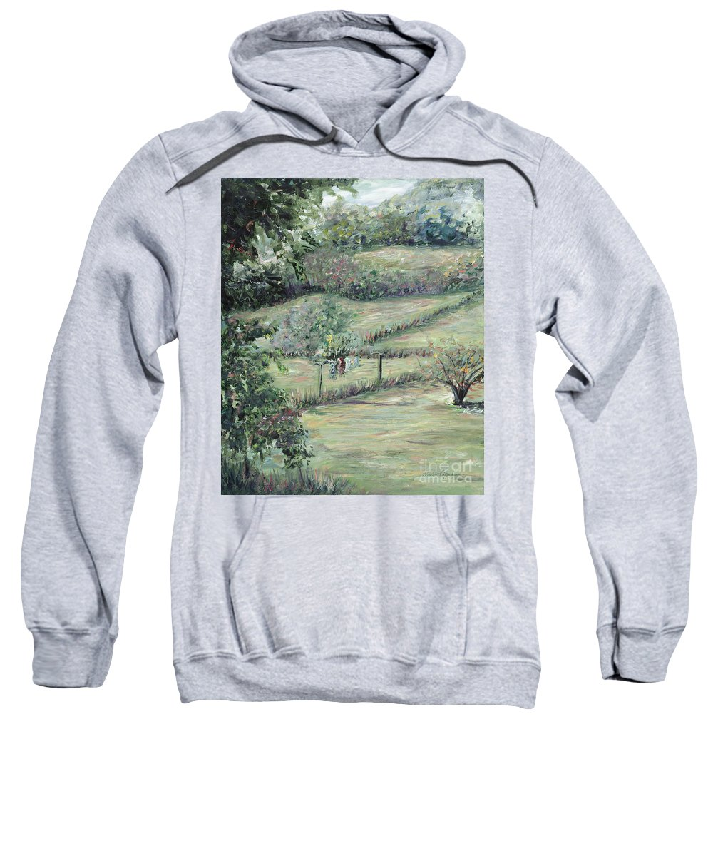 Landscape Sweatshirt featuring the painting Washday In Provence by Nadine Rippelmeyer