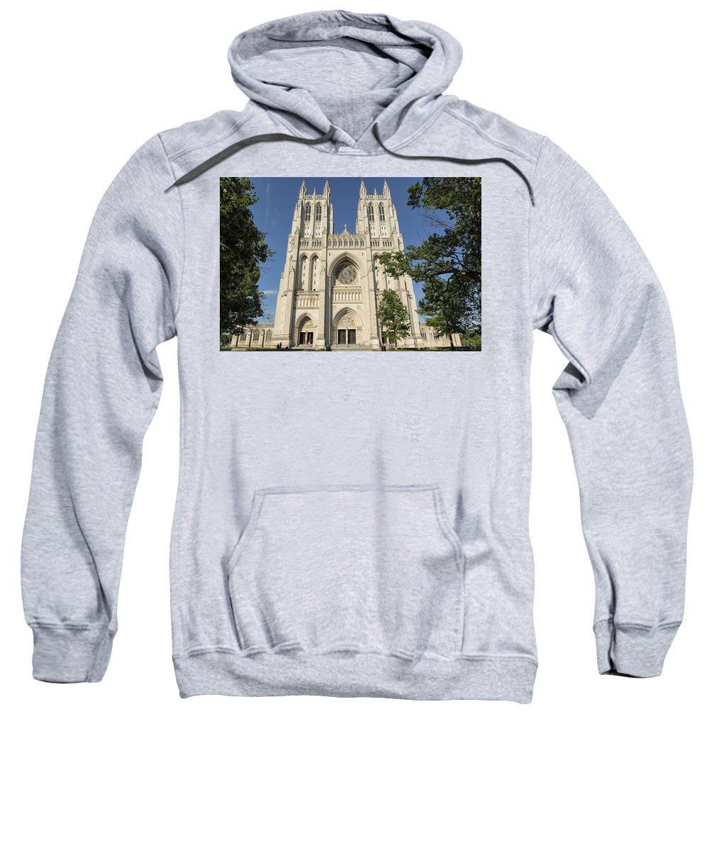 Washington National Cathedral Sweatshirt featuring the photograph Washington National Cathedral Front Exterior by Belinda Greb