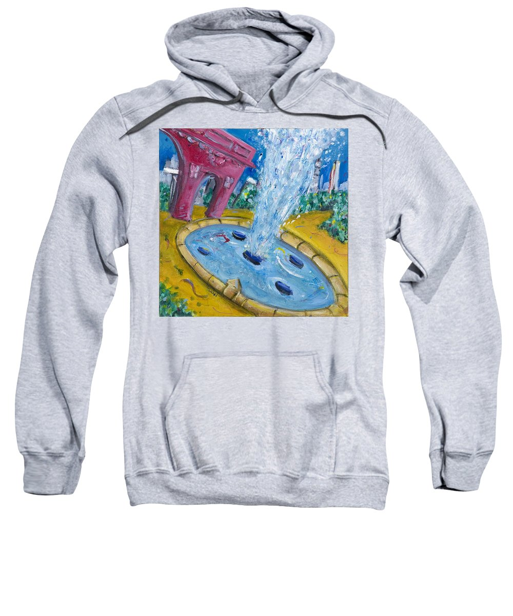New York City Manhattan Washington Sqaure Park Sweatshirt featuring the painting Washington Sqaure Park by Jason Gluskin