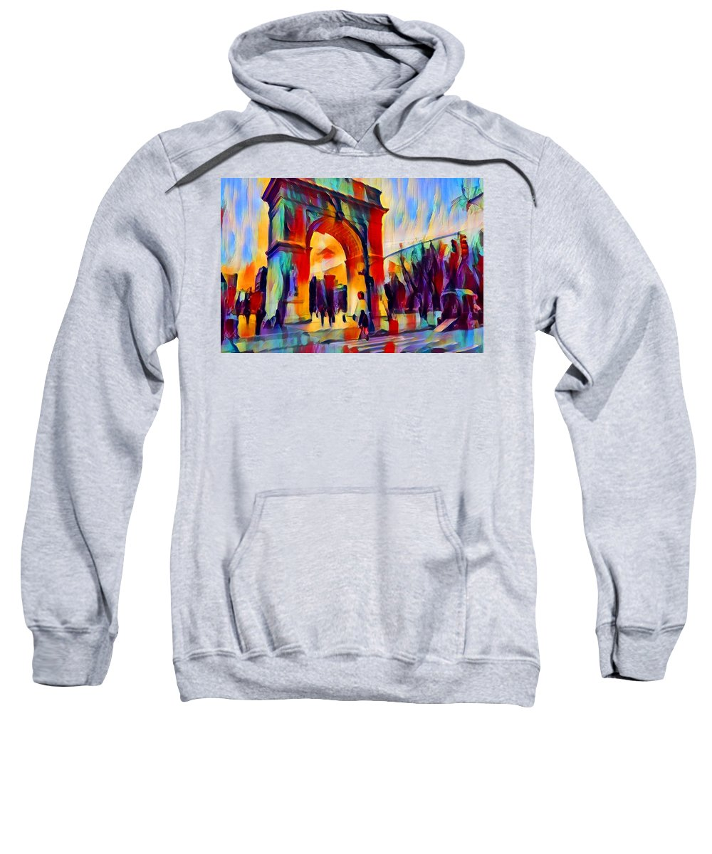 Washington Square Sweatshirt featuring the painting Washington Square by Chris Butler