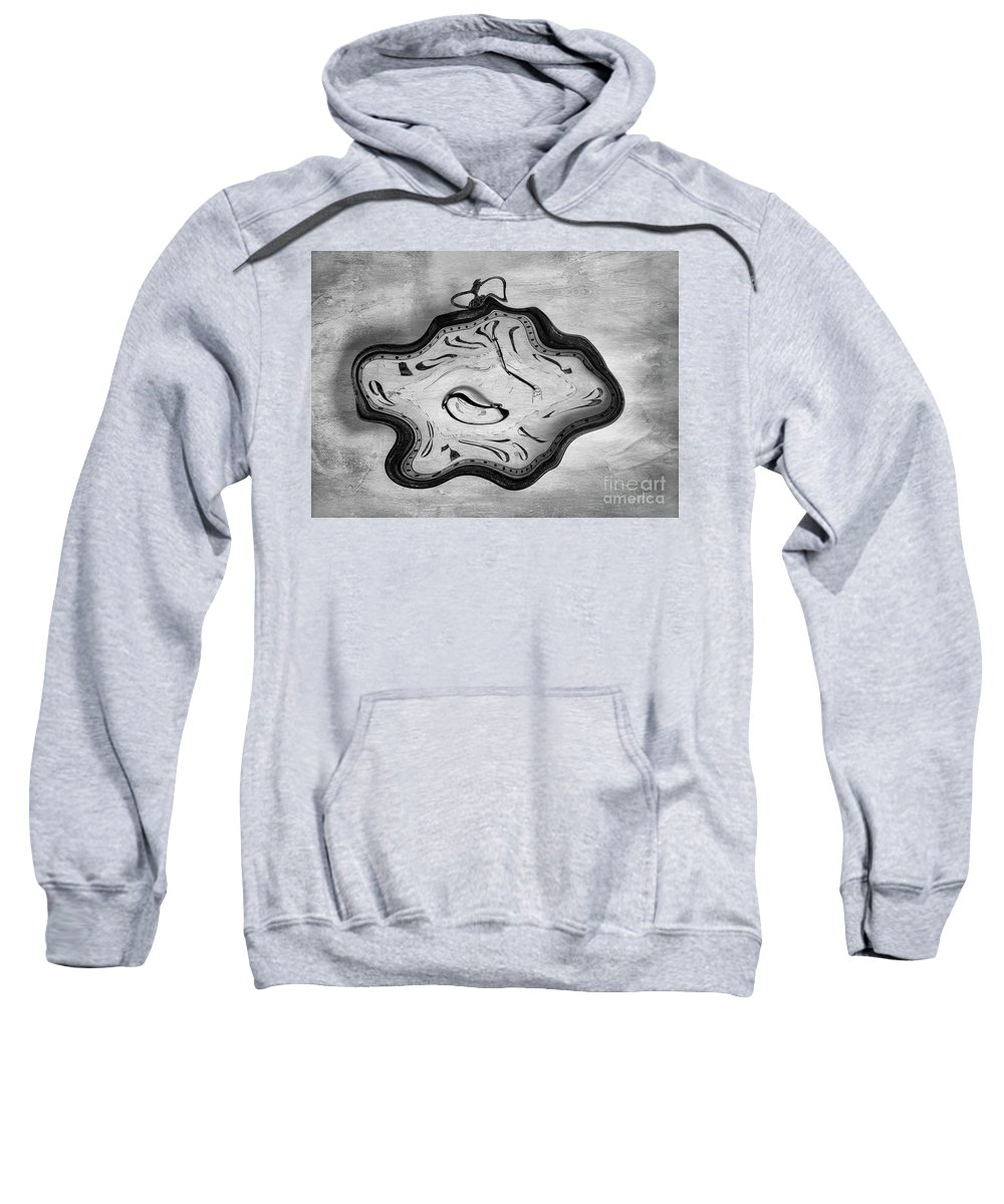 Time Sweatshirt featuring the digital art Wasted Time Bw by Elisabeth Lucas