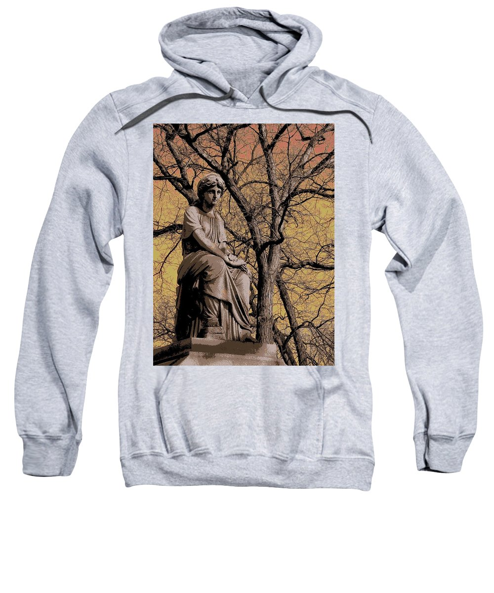 Statue Sweatshirt featuring the digital art Watching Over by Anita Burgermeister