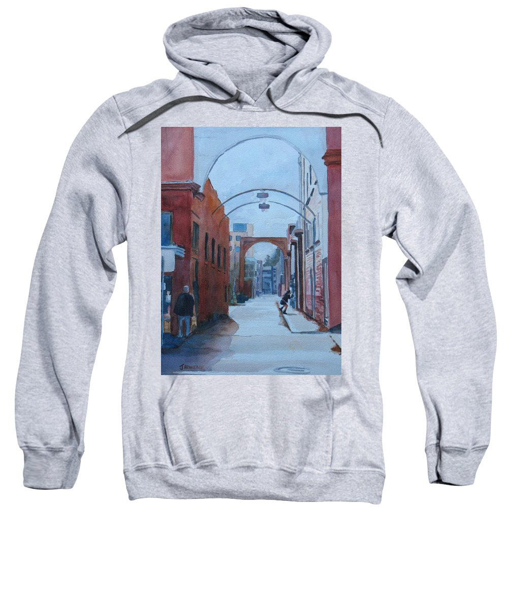 Alley Sweatshirt featuring the painting Watching The Photographer by Jenny Armitage
