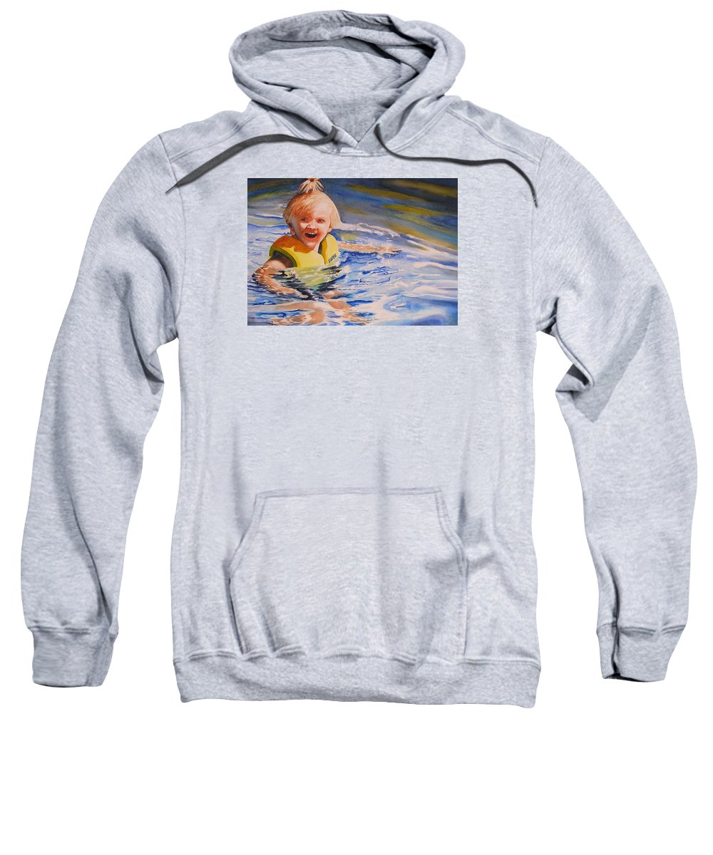 Swimming Sweatshirt featuring the painting Water Baby by Karen Stark