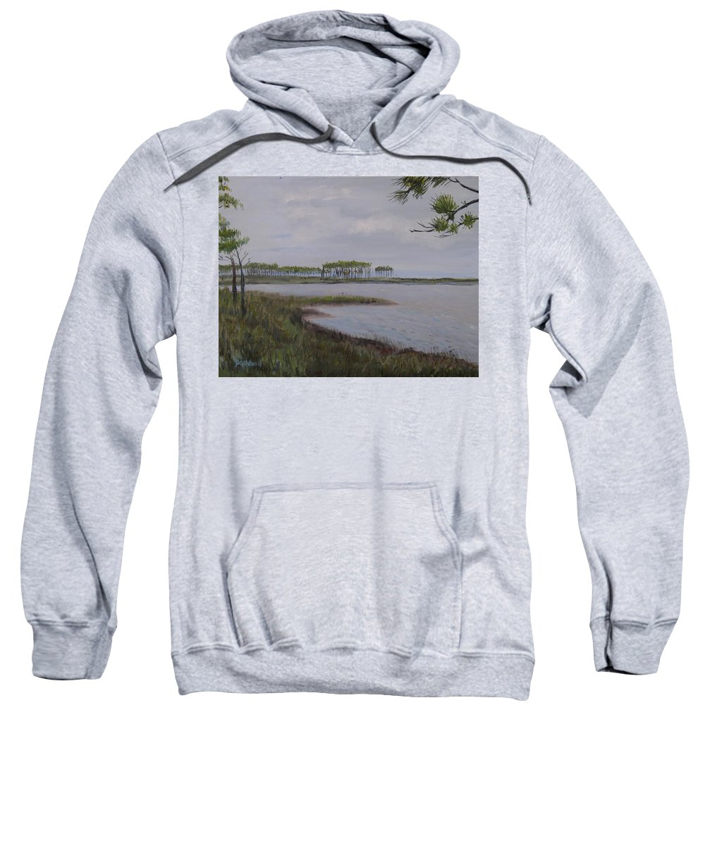 Landscape Beach Coast Tree Water Sweatshirt featuring the painting Water Color by Patricia Caldwell