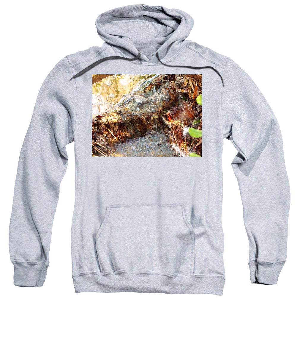 Water Fall With Leaves Sweatshirt featuring the pyrography Water Fall by Angelina Sachs