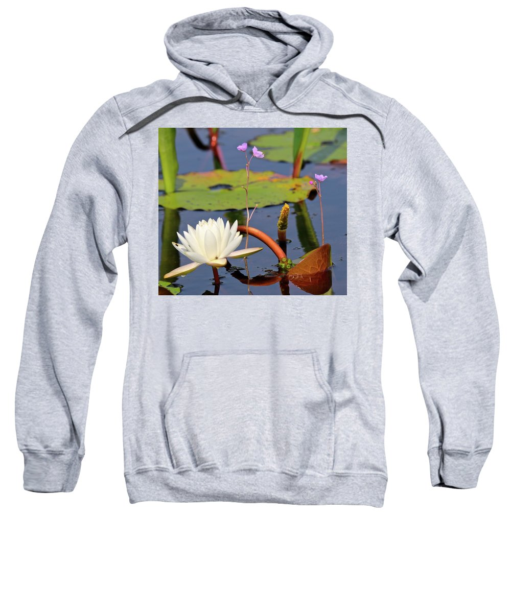 Okefenokee Swamp Sweatshirt featuring the photograph Water Flowers by Beverly Cummiskey