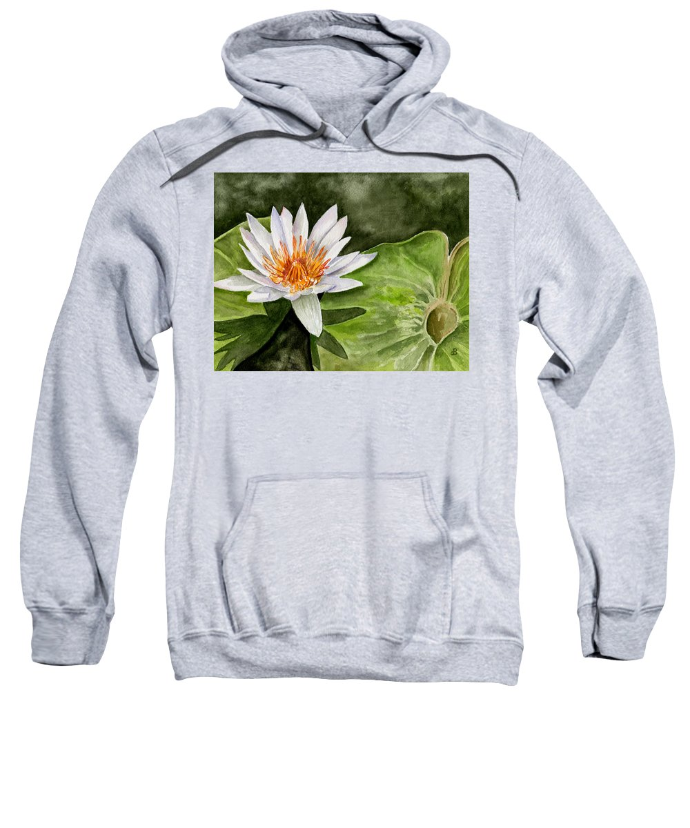 Flower Floral Water Lily Watercolor Sweatshirt featuring the painting Water Lily by Brenda Owen
