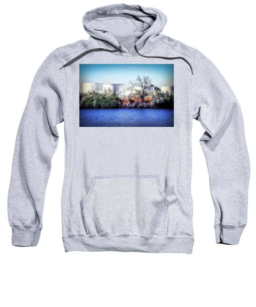 Water Tanks Sweatshirt featuring the digital art Water Tanks by Terry Davis