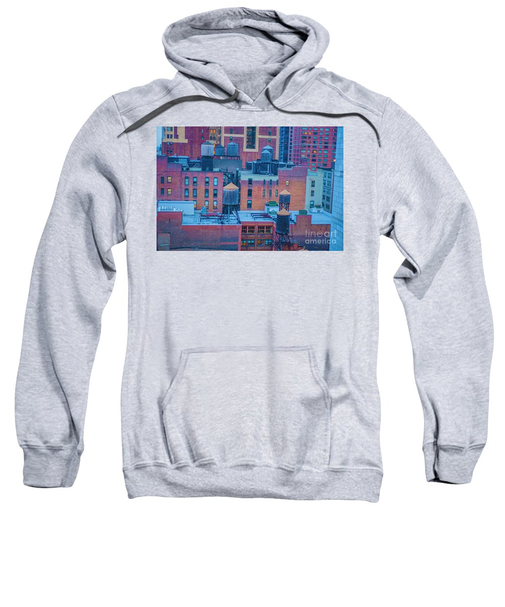 New York Sweatshirt featuring the photograph Water Towers by Roman Gomez