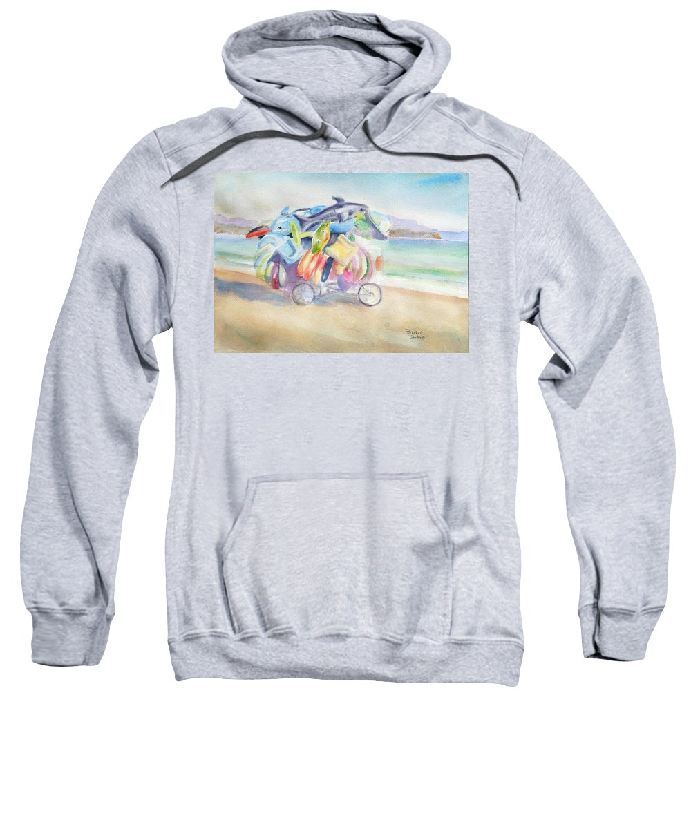 Water Toy Sweatshirt featuring the painting Water Toy Vendor On Teh Beaches Of Santiago Bay, Manzanillo by Diane Binder