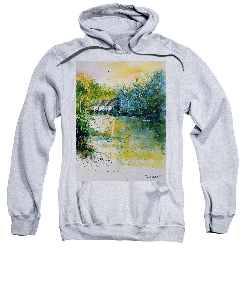River Sweatshirt featuring the painting Watercolor 011108 by Pol Ledent