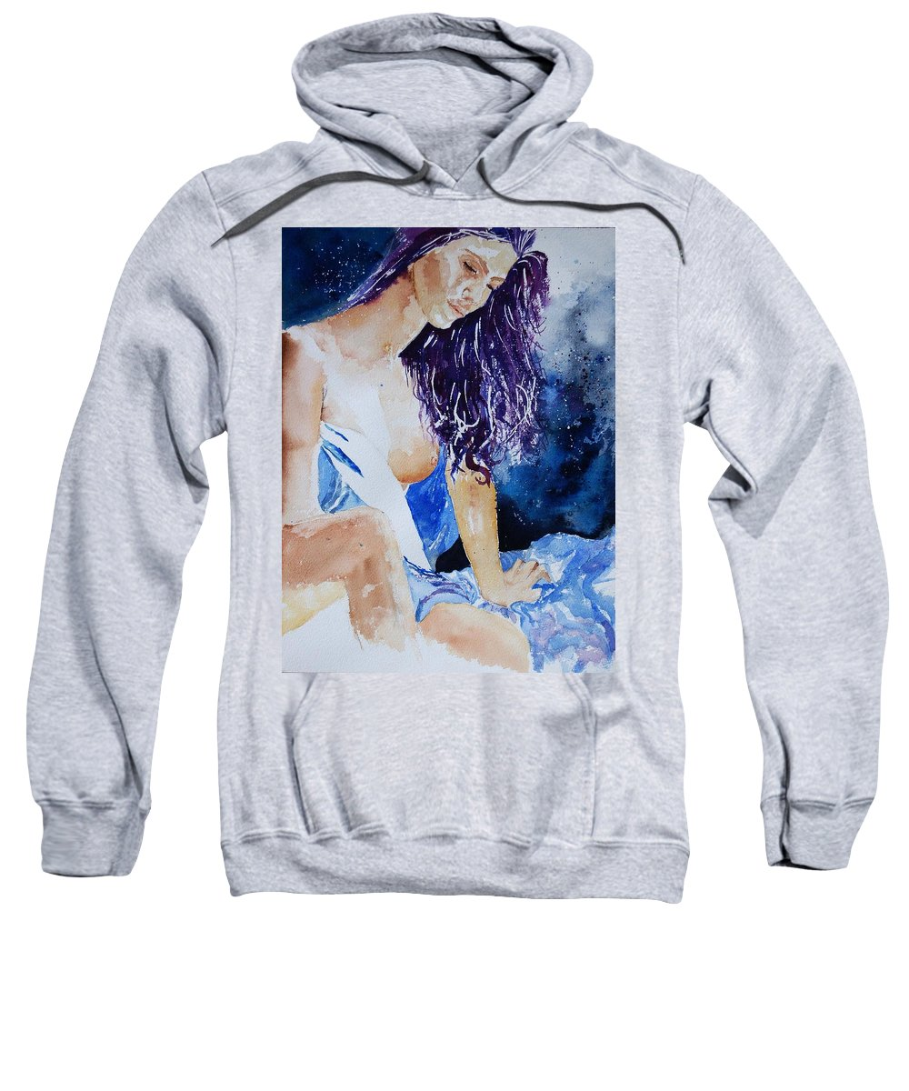 Nude Sweatshirt featuring the painting Watercolor 070308 by Pol Ledent