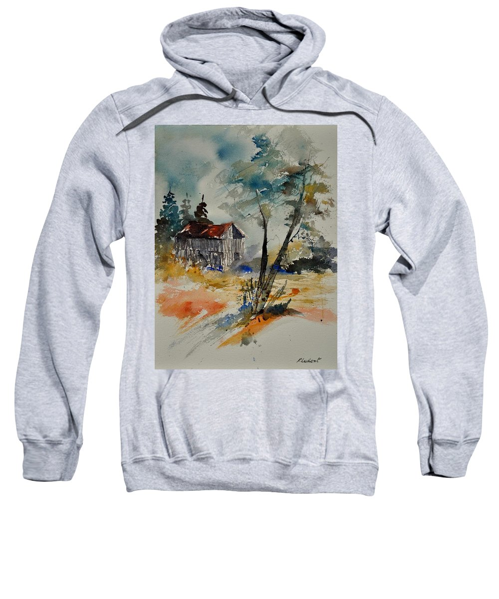 Landscape Sweatshirt featuring the painting Watercolor 119070 by Pol Ledent