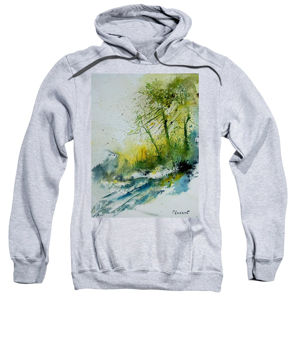 River Sweatshirt featuring the painting Watercolor 181207 by Pol Ledent