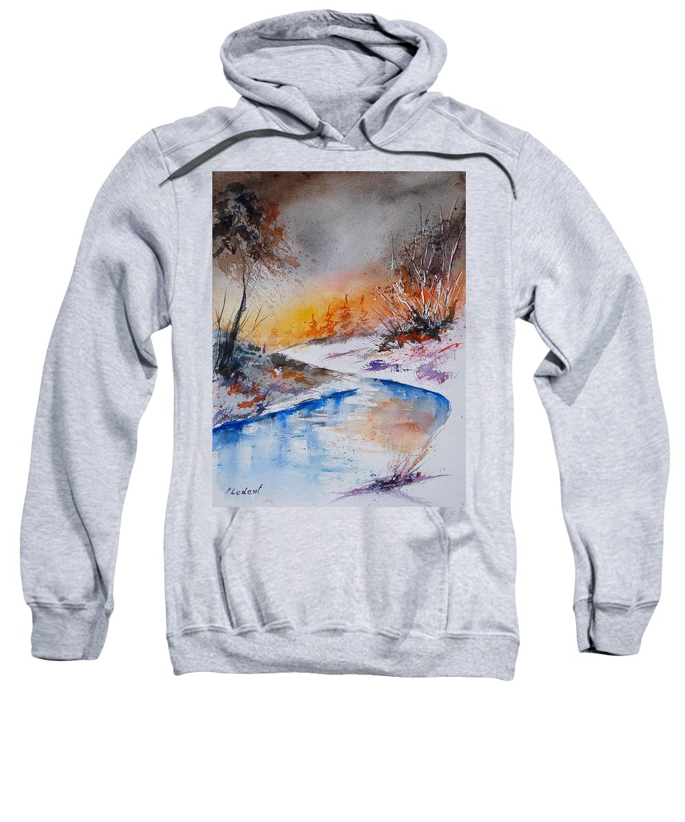 Snow Sweatshirt featuring the painting Watercolor 200308 by Pol Ledent
