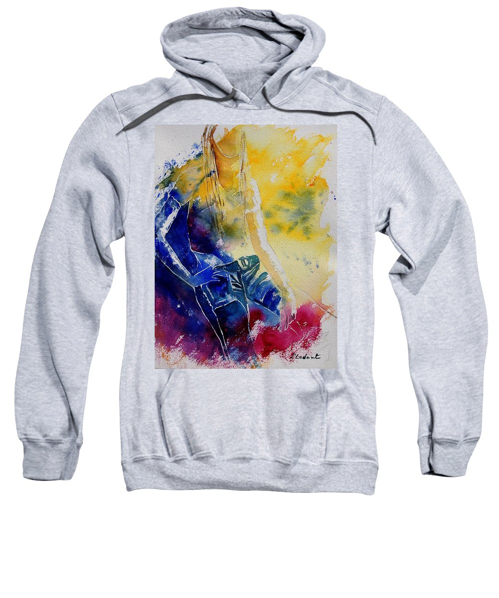 Girl Nude Sweatshirt featuring the painting Watercolor 21546 by Pol Ledent