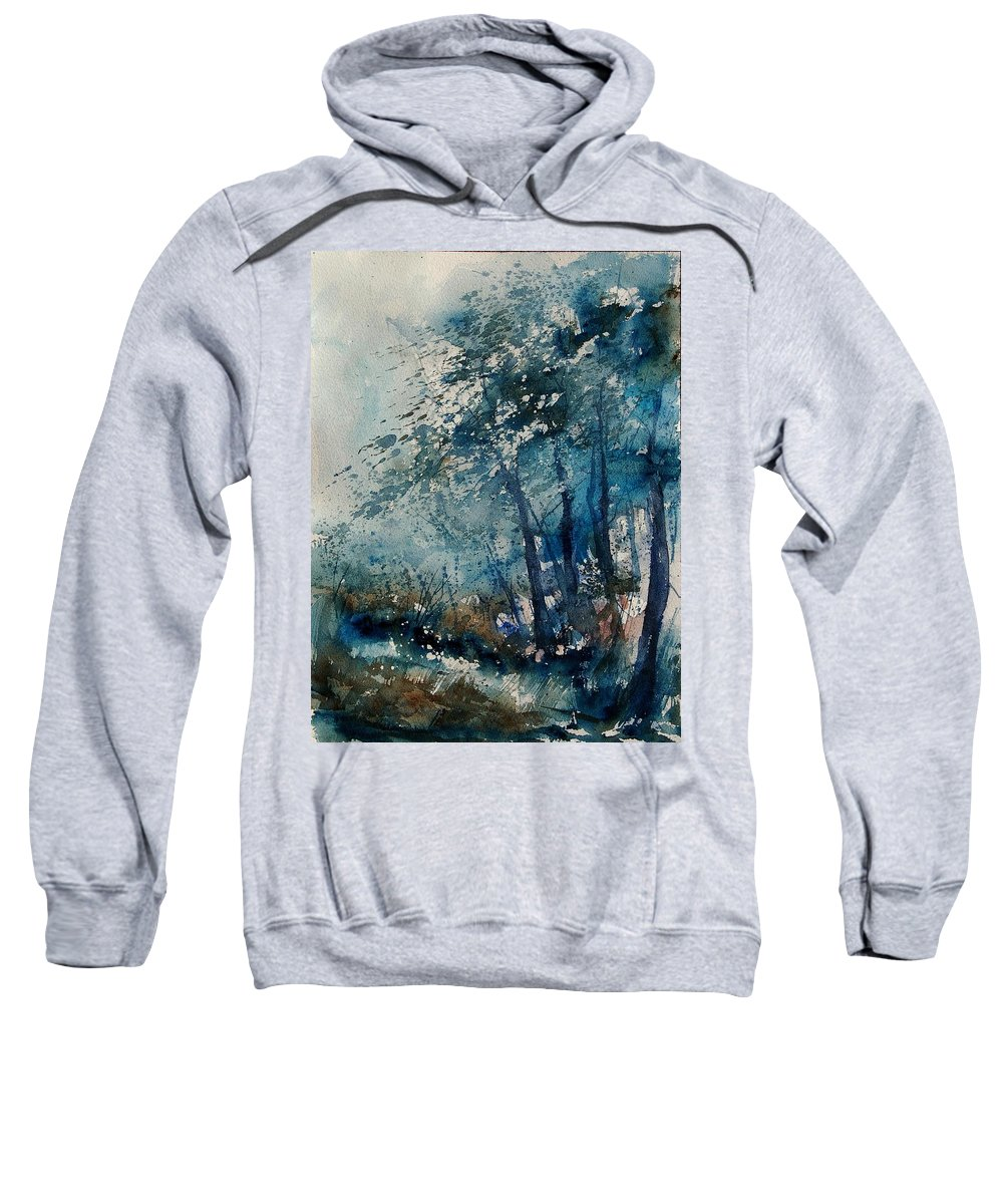 Winter Sweatshirt featuring the painting Watercolor 220907 by Pol Ledent