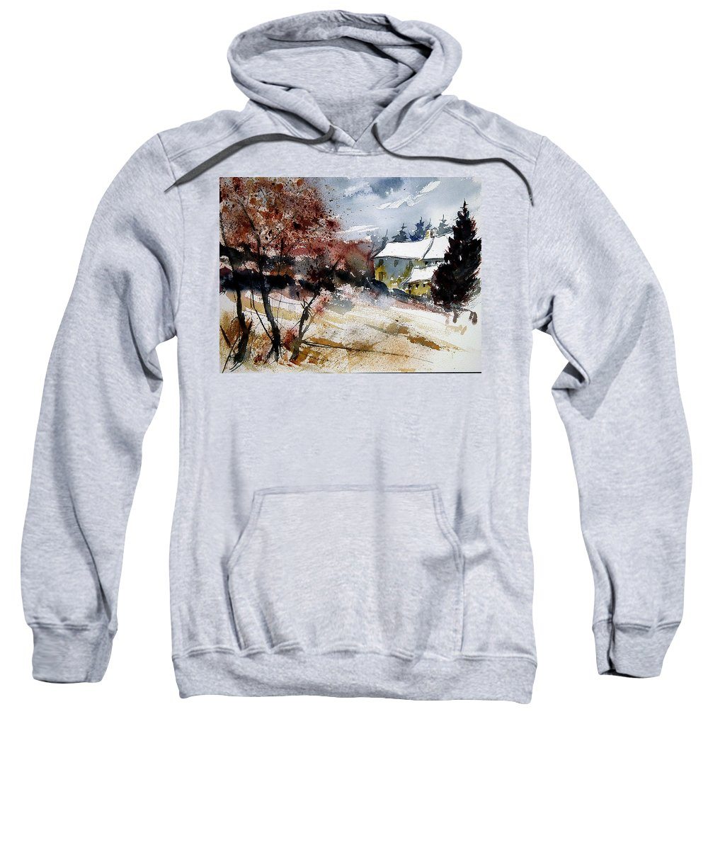 Winter Sweatshirt featuring the painting Watercolor 251205 by Pol Ledent