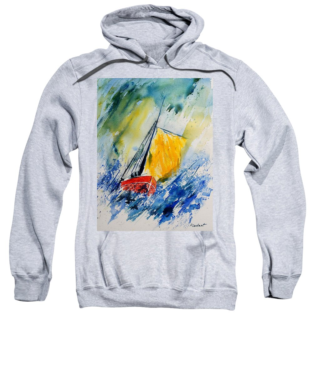 Sea Waves Ocean Boat Sailing Sweatshirt featuring the painting Watercolor 280308 by Pol Ledent