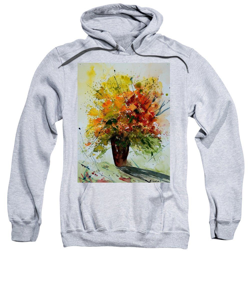 Flowers Sweatshirt featuring the painting Watercolor 290806 by Pol Ledent