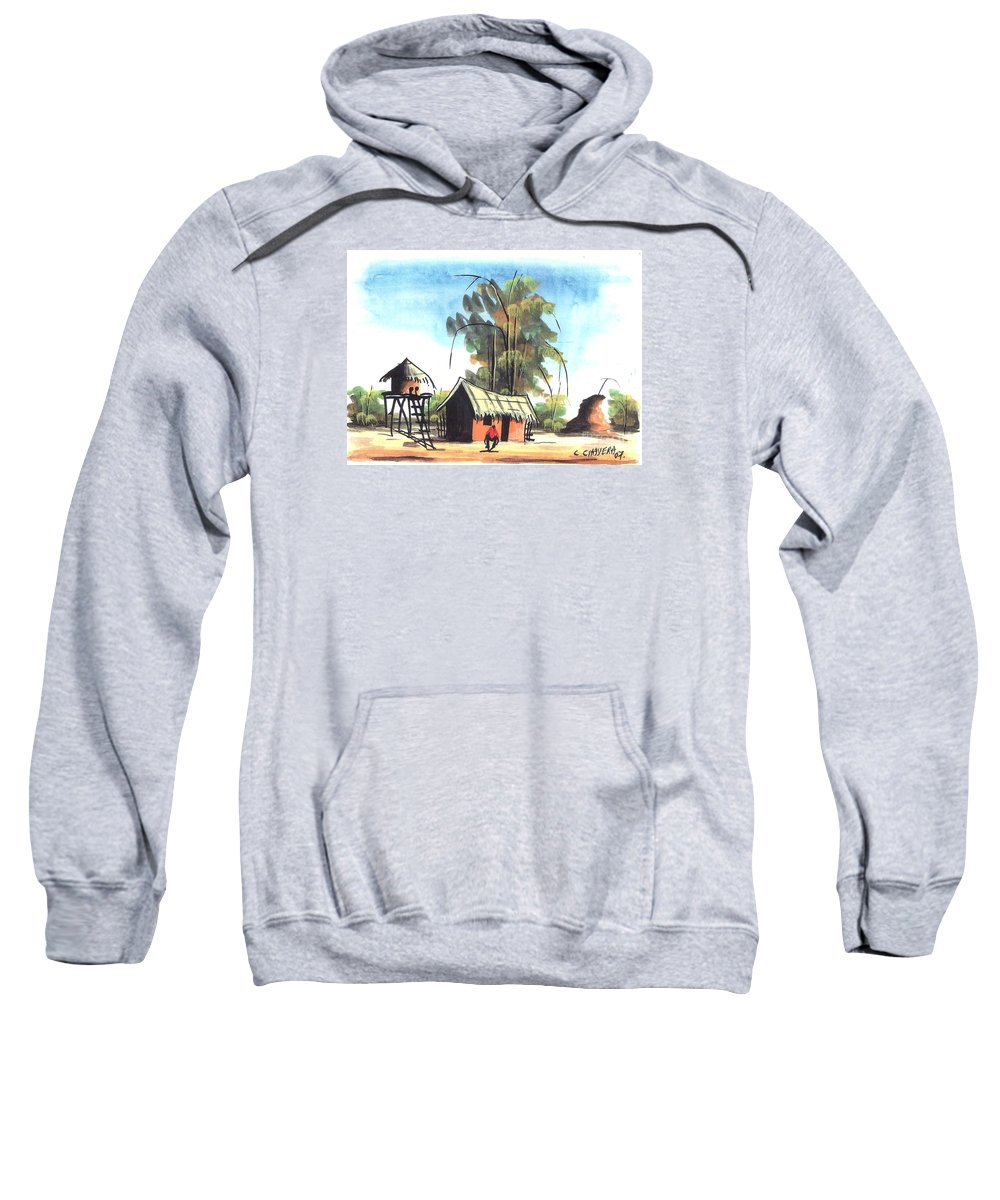 African Sweatshirt featuring the painting Watercolor 45 by Chrisfold Chayera