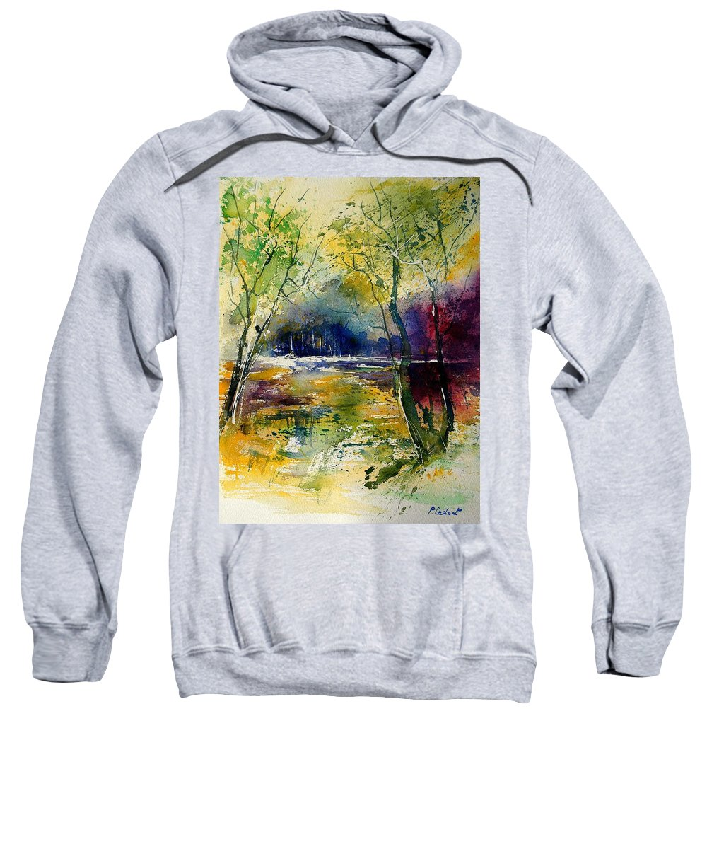 River Sweatshirt featuring the painting Watercolor 908010 by Pol Ledent