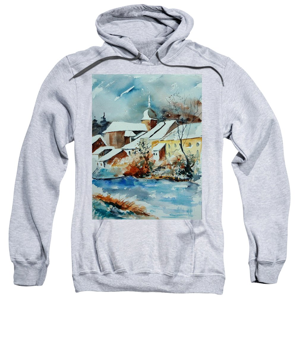 Landscape Sweatshirt featuring the painting Watercolor Chassepierre by Pol Ledent