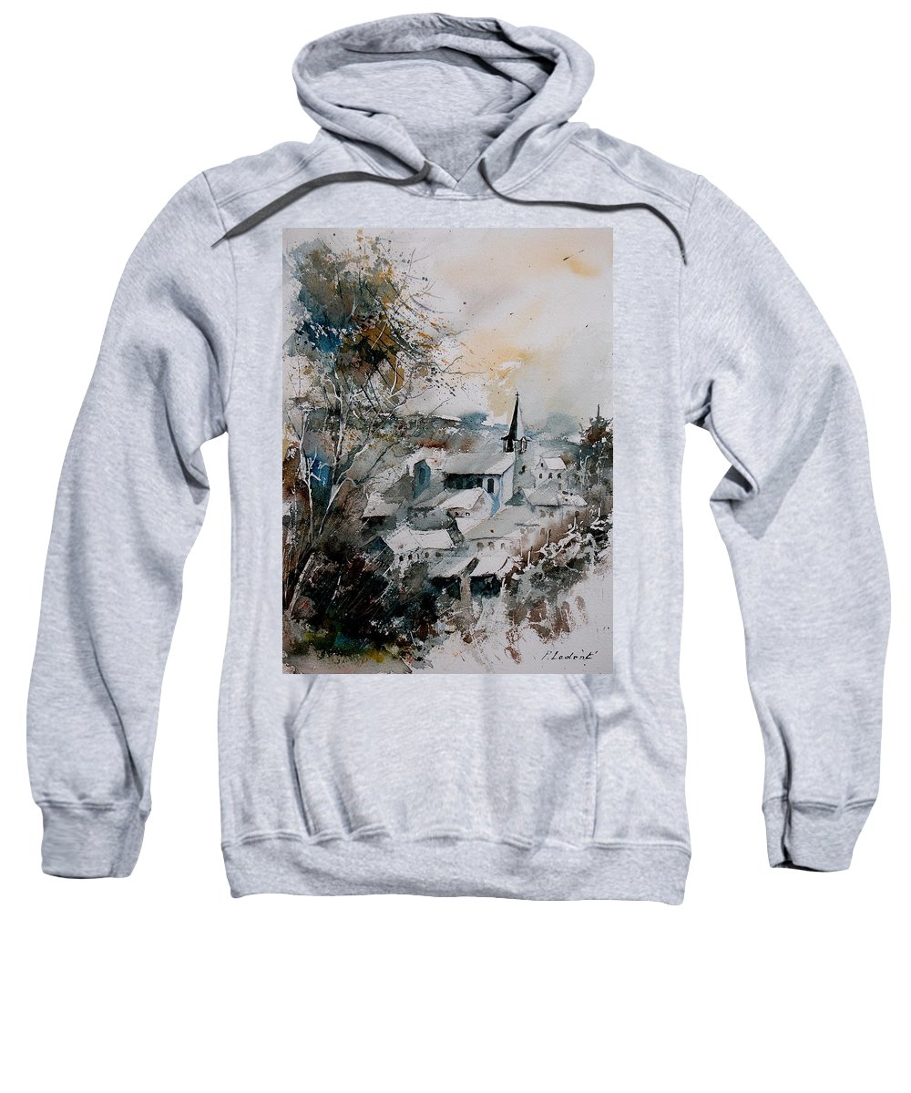 Winter Sweatshirt featuring the painting Watercolor Houyet by Pol Ledent