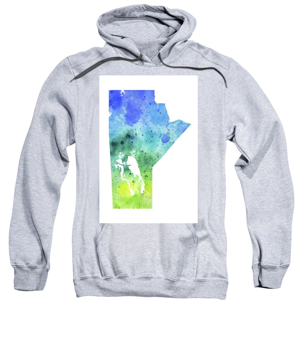 Canada Sweatshirt featuring the painting Watercolor Map Of Manitoba, Canada In Blue And Green by Andrea Hill