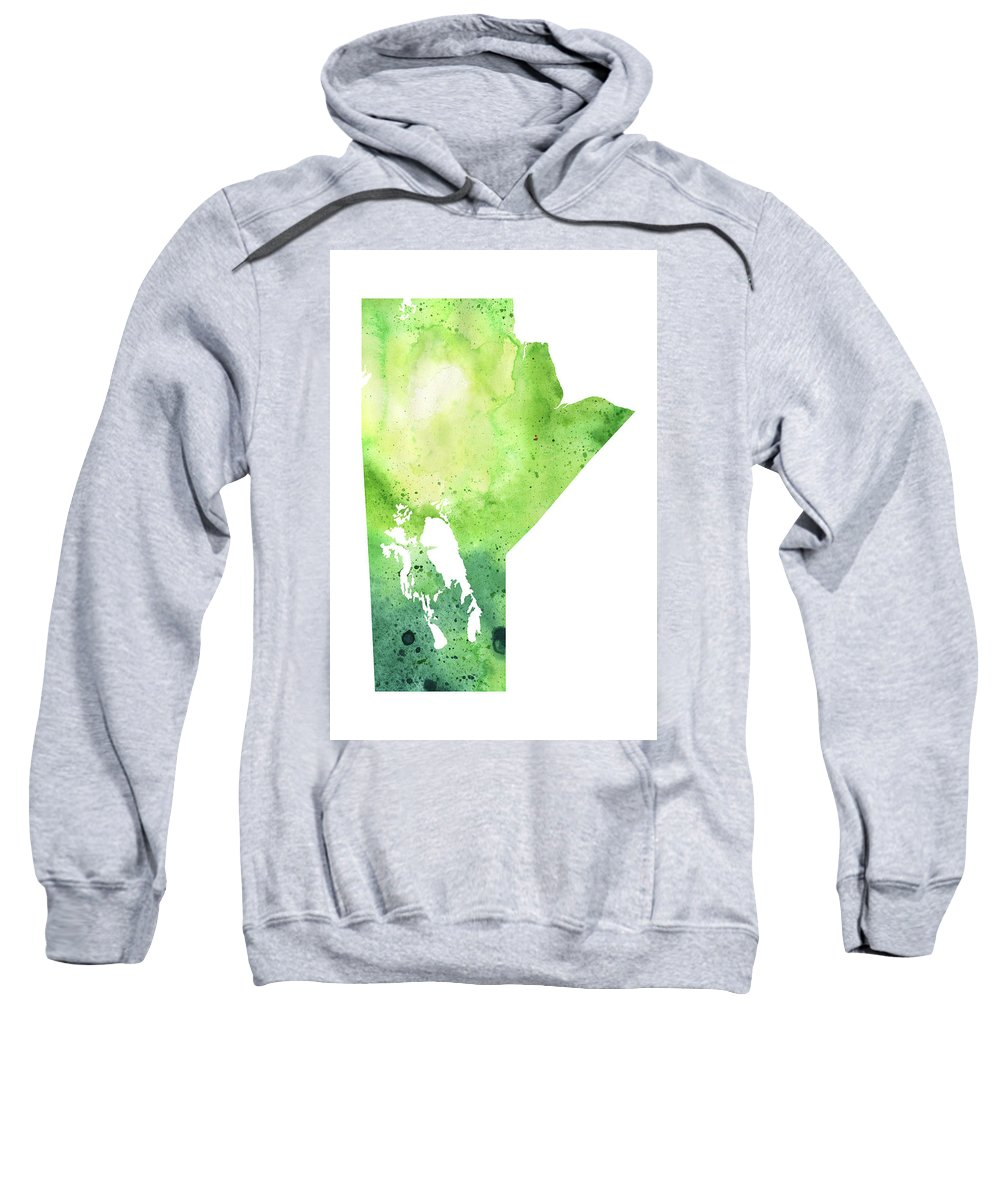Canada Sweatshirt featuring the painting Watercolor Map Of Manitoba, Canada In Green by Andrea Hill