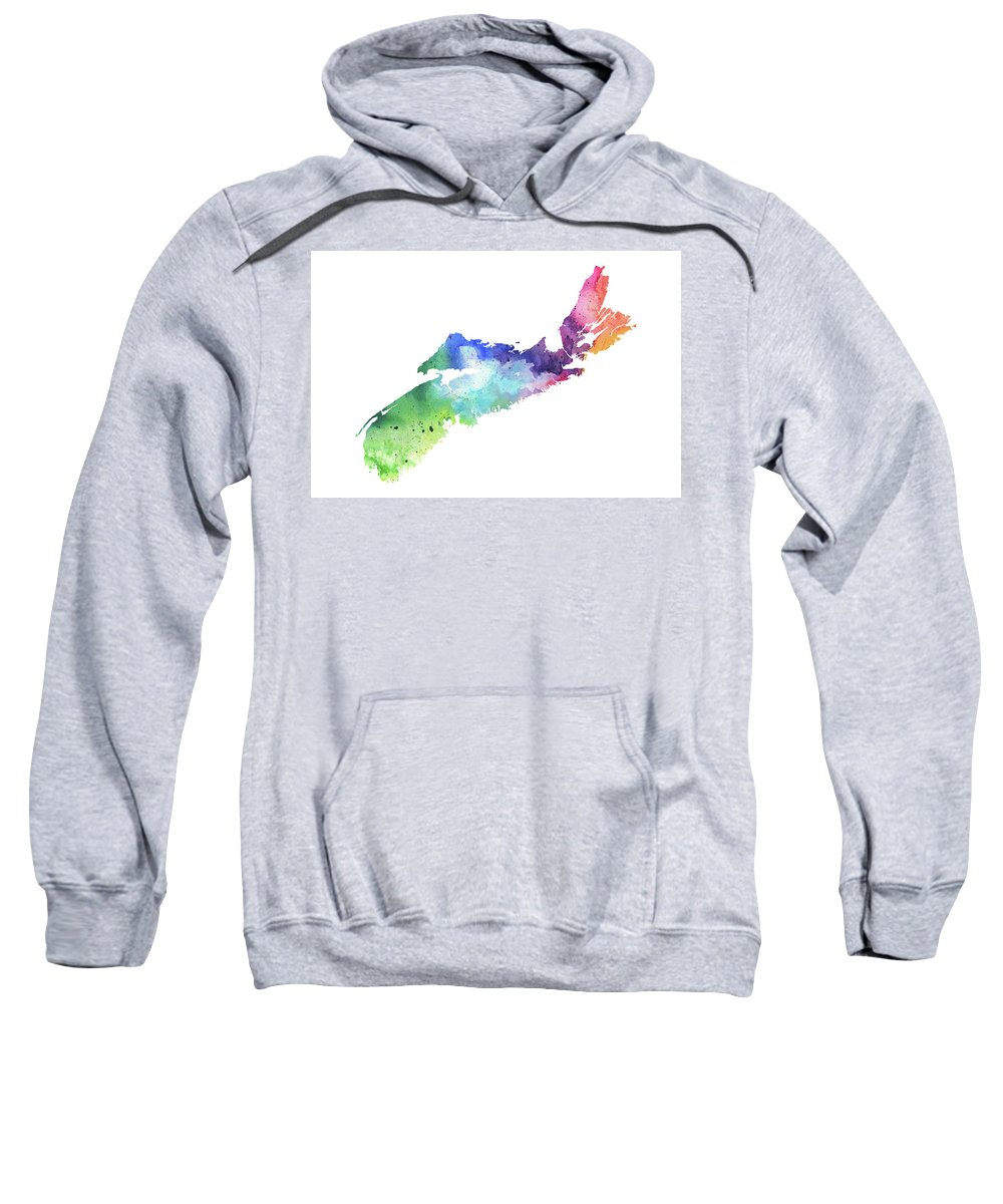 Canada Sweatshirt featuring the painting Watercolor Map Of Nova Scotia, Canada In Rainbow Colors by Andrea Hill